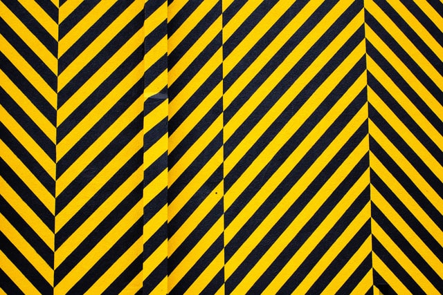 warning, black and yellow